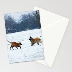 Lets play - Dogs in the snow Stationery Cards