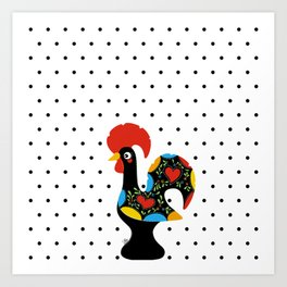 Famous Rooster Lucky Charm & Polka Dots Art Print