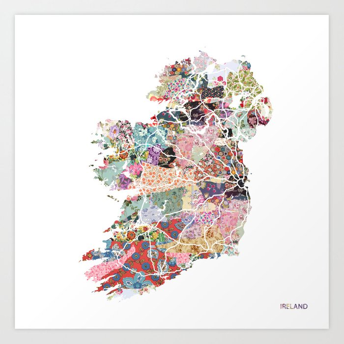 Print Map Of Ireland.Ireland Map Art Print By Poeticmaps