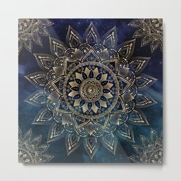 Elegant Gold Mandala Blue Galaxy Design Metal Print