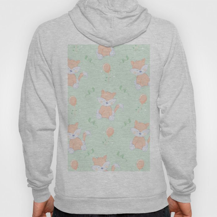 Happy Birthday Orange Fox on Green Background Pattern Hoody