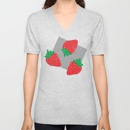 Cream Strawberries Pattern Unisex V-Neck