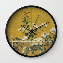 Red and White Chrysanthemums Vintage Japanese Gold Leaf Screen Wall Clock