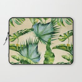 Green Tropics Leaves on Linen Laptop Sleeve