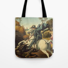Saint George and the Dragon Oil Painting By Raphael Tote Bag