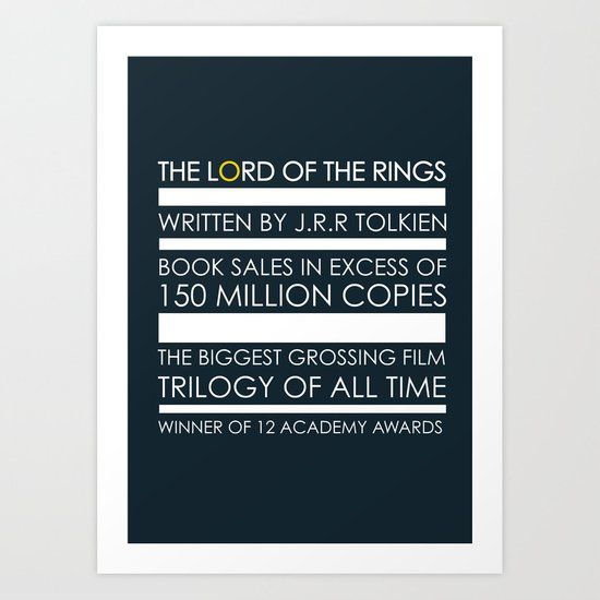 The Lord of The Rings Typographic poster Art Print