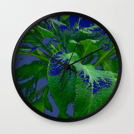 ABSTRACTED GREEN & PURPLE GARDEN LEAVES  MODERN ART Wall Clock