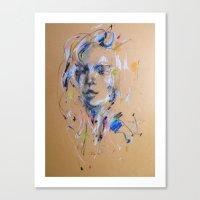chris evans Canvas Prints featuring Chris by Oriane Jouët