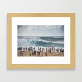 Massive wave at Banzai Pipeline, Northshore Oahu, Hawaii Framed Art Print