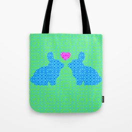 Blue and Green Digital Pattern with Pair of Bunnies in Love with Pink Heart Tote Bag
