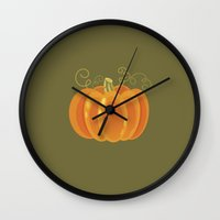 pumpkin Wall Clocks featuring Pumpkin by rusanovska
