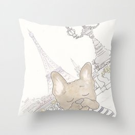 French Bulldog Photobomb in Paris with Eiffel Tower Throw Pillow
