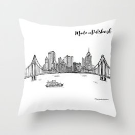 Ink Sketch Pittsburgh Skyline Throw Pillow