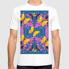 Modern Art Pink Flowers Yellow Butterflies Teal Color Garden Mens Fitted Tee MEDIUM White