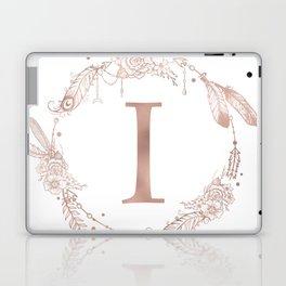 Letter I Rose Gold Pink Initial Monogram Laptop & iPad Skin