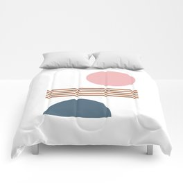 Minimalist Shapes Collage in Blush, Navy, and Rust Comforters