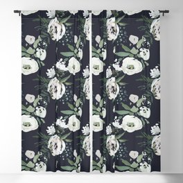 Blush pink white green black watercolor modern floral Blackout Curtain