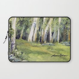 Woodland Landscape Watercolor Vermont Painting Birch Trees Spring Fields Laptop Sleeve