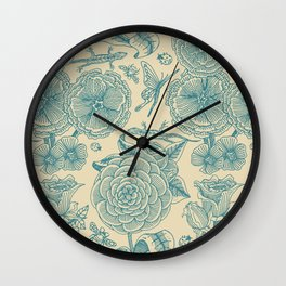 Garden Bliss - in teal & cream Wall Clock