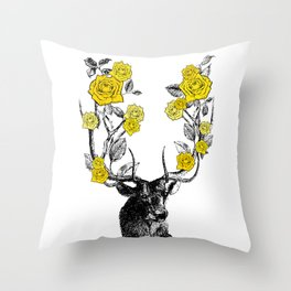 The Stag and Roses | Yellow Throw Pillow