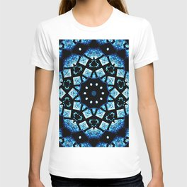 Blue Black Mosaic Kaleidoscope Mandala T-shirt