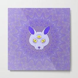 Spiritual cat with three eyes. Metal Print