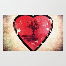 Love Nature - Grunge Tree and Heart - Earth Friendly Artwork Rug