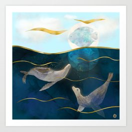 Sea Lions Playing with the Moon - Underwater Dreams Art Print