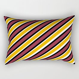 Maroon Gold black and white diagonal stripe Rectangular Pillow