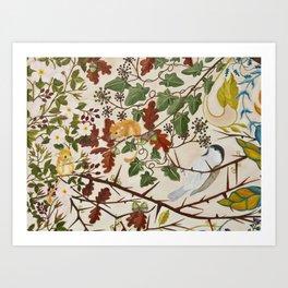 Marsh Tit and Field Mice Art Print