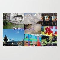 switzerland Area & Throw Rugs featuring Photo Collage Switzerland  by Celeste Sheffey of Khoncepts