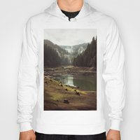 tapestry Hoodies featuring Foggy Forest Creek by Kevin Russ