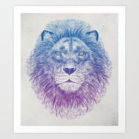 kitty Art Prints featuring Face of a Lion by Rachel Caldwell