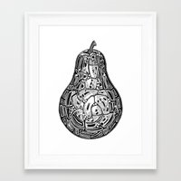pear Framed Art Prints featuring Pear by Jess Moore
