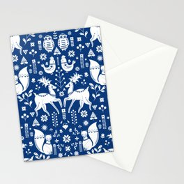 Whimsical Scandinavian Folk Art With Cute Forest Animals Stationery Cards