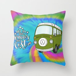 Camper Bus Not All Who Wander Are Lost Throw Pillow