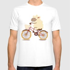 Lamb on the bike MEDIUM Mens Fitted Tee White