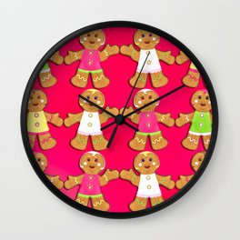 Gingerbread Men and Gingerbread Woman Cookies Wall Clock
