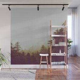 Olive Green Sepia Misty Pine Forest Landscape Photography Parallax Trees Wall Mural