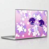 pastel goth Laptop & iPad Skins featuring Fairy Kei Pastel Goth Dreamy Shoujo Manga Eyes by KawaiiMachine