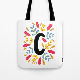 Letter 'C' Initial/Monogram With Bright Leafy Border Tote Bag