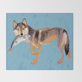 Totem Coastal wolf (Vancouver Wolf) Throw Blanket