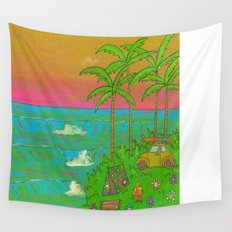 VW Beatle Bug Surf Paradise Adventure Wall Tapestry