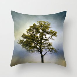 Emerald Waters Cotton Field Tree - Landscape Throw Pillow