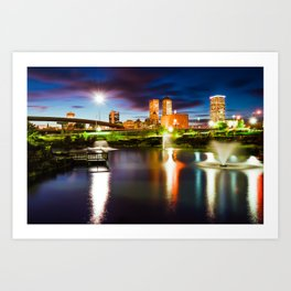 Centennial Park Lake and the Tulsa Skyline at Dusk Art Print