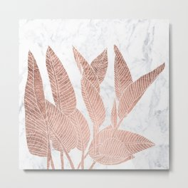 Modern faux Rose gold leaf tropical white marble illustration Metal Print