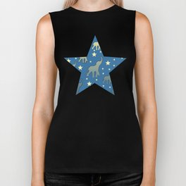 Blue Elephants Stars Pattern Biker Tank