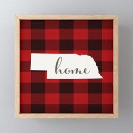 Nebraska is Home - Buffalo Check Plaid Framed Mini Art Print