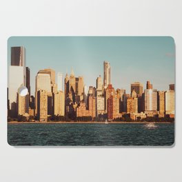 Views of the Manhattan skyline from Jersey City waterfront. USA. Cutting Board