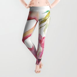 Pink Flamingо with Peony Wings Leggings